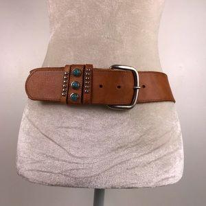 Genuine Leather Turquoise embellished buckle
